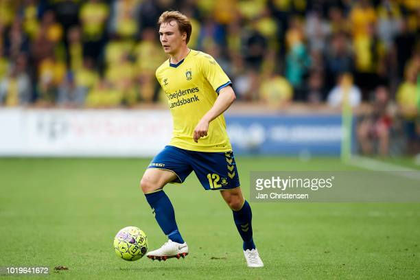 Simon Tibbling of Brondby IF controls the ball during the Danish Superliga match between Brondby IF and Esbjerg fB at Brondby Stadion on August 19...