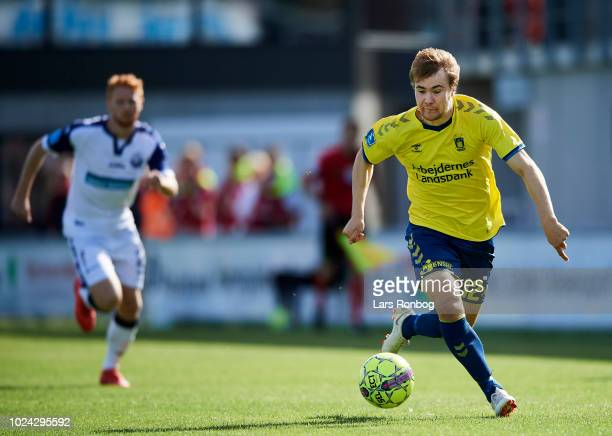 Simon Tibbling of Brondby IF controls the ball during the Danish Superliga match between Vendsyssel FF and Brondby IF at Nord Energi Arena on August...