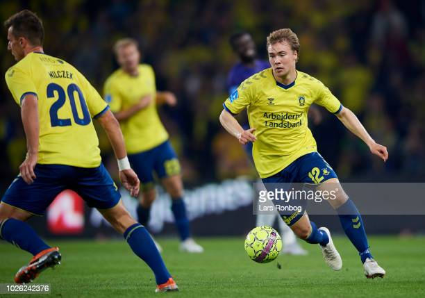 Simon Tibbling of Brondby IF controls the ball during the Danish Superliga match between Brondby IF and FC Midtjylland at Brondby Stadion on...