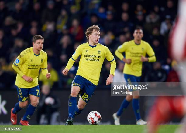 Simon Tibbling of Brondby IF controls the ball during the Danish Superliga match between Brondby IF and AaB Aalborg at Brondby Stadion on March 10...