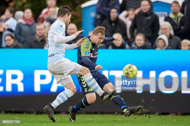 Simon Tibbling of Brondby IF in action during the Danish Alka Superliga match between FC Helsingor and Brondby IF at Helsingor Stadion on October 22...
