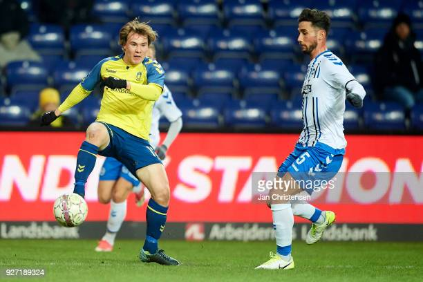 Simon Tibbling of Brondby IF in action during the Danish Alka Superliga match between Brondby IF and OB Odense at Brondby Stadion on March 04 2018 in...