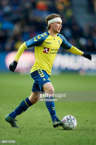 Simon Tibbling of Brondby IF in action during the Danish Alka Superliga match between Brondby IF and Hobro IK at Brondby Stadion on March 18 2018 in...