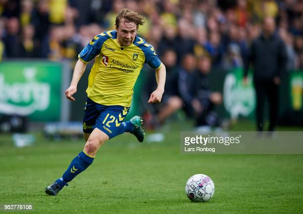 Simon Tibbling of Brondby IF in action during the Danish Alka Superliga match between Brondby IF and FC Nordsjalland at Brondby Stadion on April 29...
