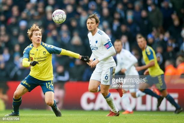 Simon Tibbling of Brondby IF in action during the Danish Cup DBU Pokalen match between FC Copenhagen and Brondby IF in Telia Parken Stadium on...