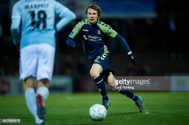 Simon Tibbling of Brondby IF in action during the Danish DBU Pokalen Cup quarterfinal match between Sonderjyske and Brondby IF at Sydbank Park on...