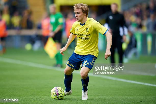 Simon Tibbling of Brondby IF in action during the Danish Superliga match between Brondby IF and SonderjyskE at Brondby Stadion on September 16 2018...