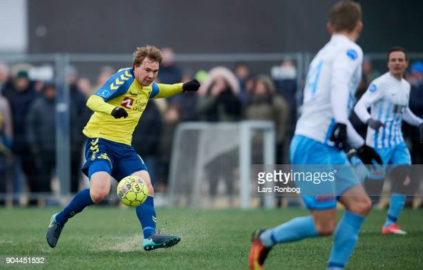 Simon Tibbling of Brondby IF in action during the test match Brondby IF vs FC Roskilde at Brondby Stadion on January 13 2018 in Brondby Denmark