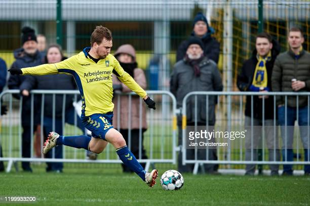 Simon Tibbling of Brondby IF in action during the testmatch between Brondby IF and SonderjyskE at Brondby Stadion on February 10, 2020 in Brondby,...