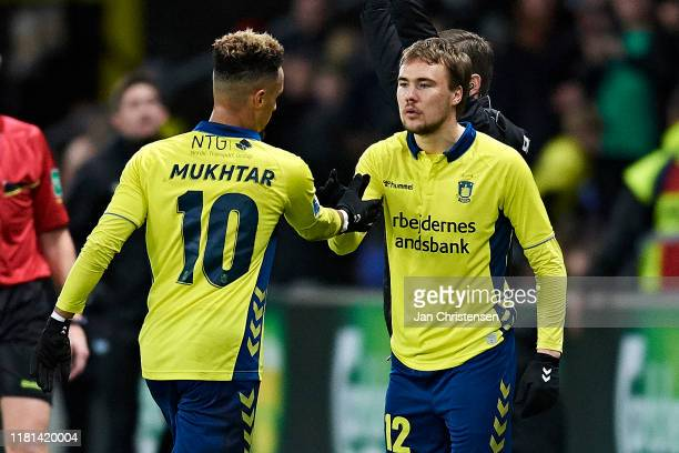 Simon Tibbling of Brondby IF is replaced as a substitute for Hany Mukhtar of Brondby IF during the Danish 3F Superliga match between Brondby IF and...
