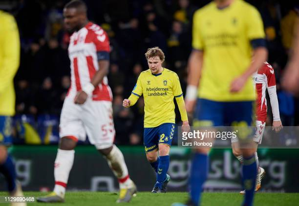 Simon Tibbling of Brondby IF leaving the pitch during halftime in the Danish Superliga match between Brondby IF and AaB Aalborg at Brondby Stadion on...