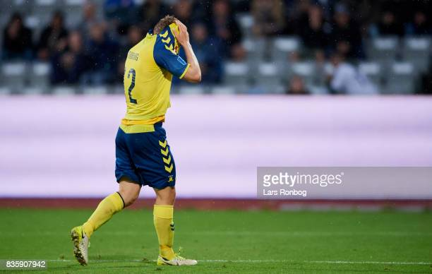 Simon Tibbling of Brondby IF shows frustration during the Danish Alka Superliga match between AGF Aarhus and Brondby IF at Ceres Park on August 20...