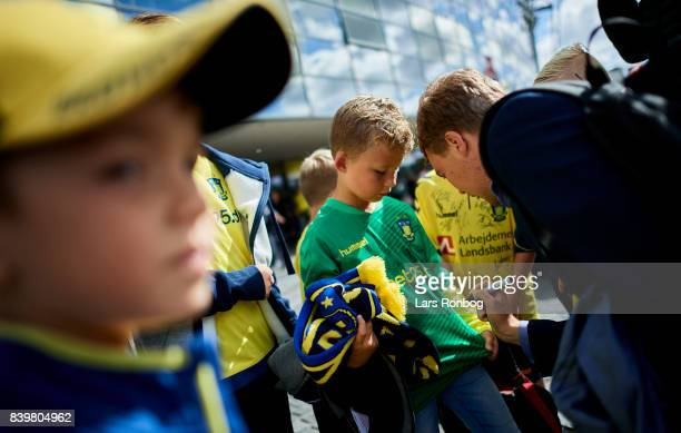 Simon Tibbling of Brondby IF signing autographs for young fans prior to the Danish Alka Superliga match between Brondby IF and AC Horsens at Brondby...