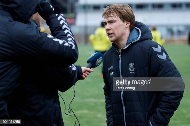 Simon Tibbling of Brondby IF speaks to the media during the test match Brondby IF vs FC Roskilde at Brondby Stadion on January 13 2018 in Brondby...