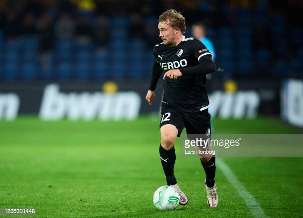 Simon Tibbling of Randers FC controls the ball during the UEFA Conference League match between Randers FC and AZ Alkmaar at Cepheus Park on September...
