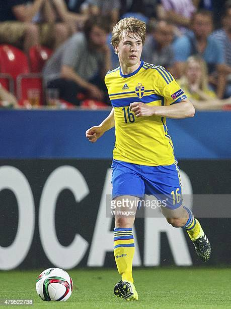 Simon Tibbling of Sweden during the UEFA European Under21 Championship final match between Sweden and Portugal on June 30 2015 at the Eden stadium in...