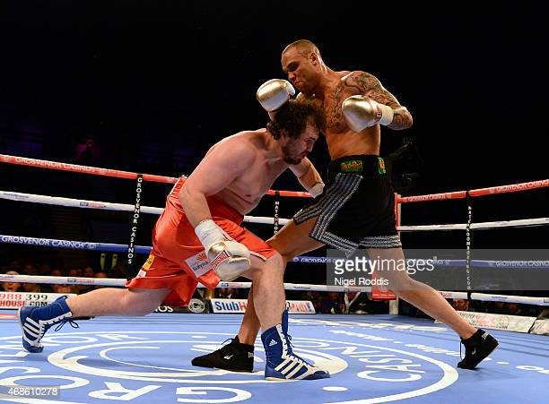 Simon Vallily in action with Wlodzimierz Letr during their Cruiserweight boxing contest at the Metro Arena on April 4 2015 in Newcastle upon Tyne...