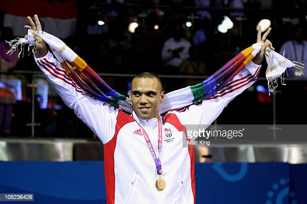 Simon Vallily of England poses with the gold medal during the medal ceremony for the Heavy Weight Men Finals Gold Medal Bout at Talkatora Indoor...