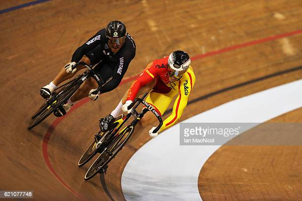 Simon van Velthooven of New Zealand and Juan Peralta Gascon of Spain compete in the first round of the Men's Sprint at the Sir Chris Hoy Velodrome on...
