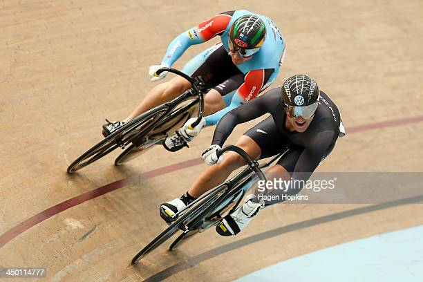 Simon Van Velthooven of New Zealand and Shane Perkins of Australia competes in the men's sprint during the 2013 UCI Festival of Speed at SIT Zerofees...