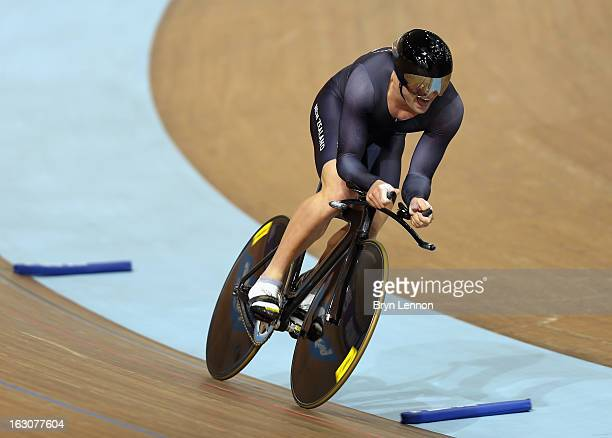 Simon Van Velthooven of New Zealand in action in the Men's 1km Time Trial during day one of the UCI Track World Championships at the Minsk Arena on...