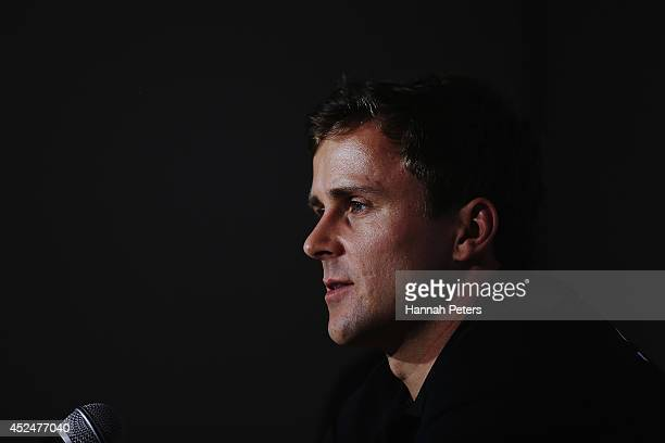 Simon van Velthooven of New Zealand speaks to the media during a Cycling New Zealand press conference ahead of the Commonwealth Games on July 21 2014...