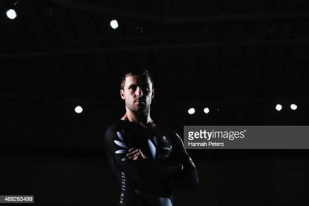Simon Van Velthooven poses for a pohoto during the BikeNZ Track Cycling World Championship Media Day on February 14 2014 in Cambridge New Zealand