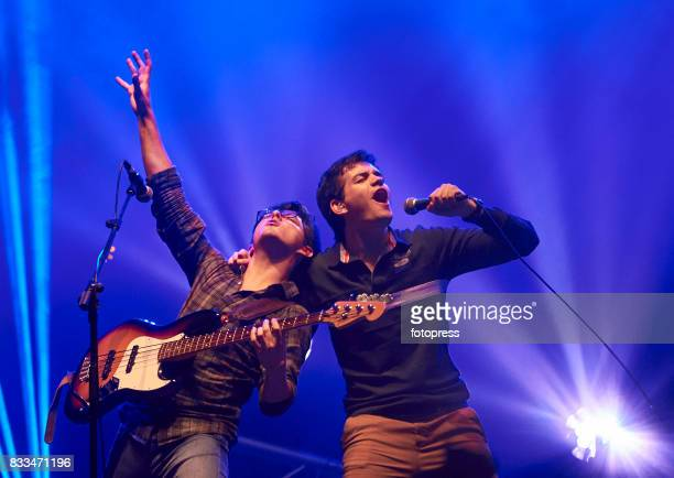 Simon Vargas and Juan Pablo Villamil of Morat performs at Plaza de Espana on August 16 2017 in Pontevedra Spain
