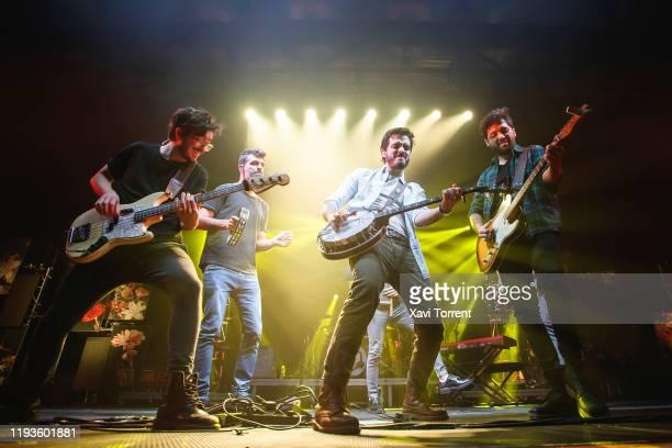 Simon Vargas Morales and Juan Pablo Villamil of the band Morat perform in concert at Sant Jordi Club on December 12 2019 in Barcelona Spain