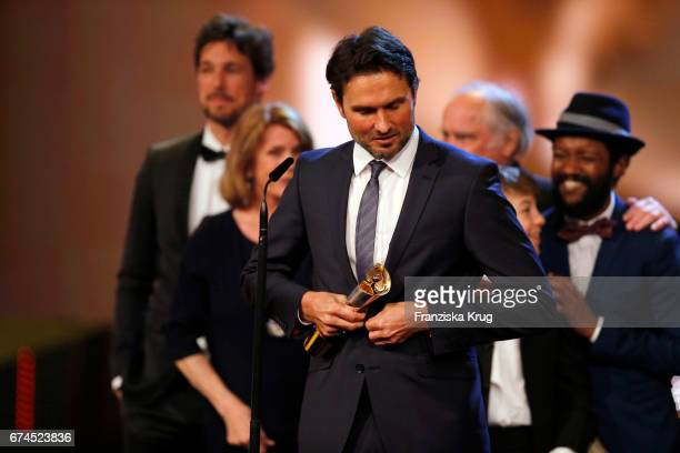Simon Verhoeven after receiving his award for Largest Audience for the film 'Willkommen bei den Hartmanns' at the Lola German Film Award show at...