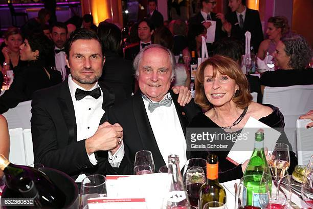 Simon Verhoeven with his father Michael Verhoeven and his mother Senta Berger during the 44th German Film Ball 2017 party at Hotel Bayerischer Hof on...