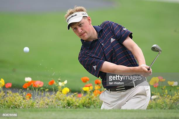 Simon Wakefield of England in action during the Pro-Am round of the BMW Asian Open at the Tomson Shanghai Pudong Golf Club on April 23, 2008 in...