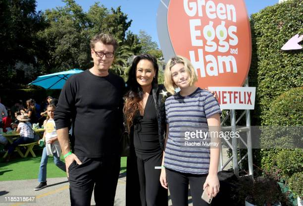 Simon Wakelin Tia Carrere and Bianca Wakelin attend Netflix 'Green Eggs Ham' Los Angeles Premiere at Post 43 on November 03 2019 in Los Angeles...