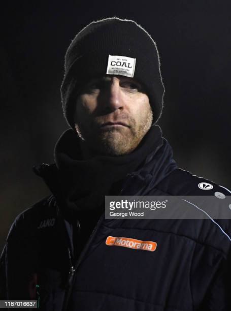 Simon Weaver, Manager of Harrogate Town reats during the FA Cup First Round match between Harrogate Town A.F.C and Portsmouth FC at CNG Stadium on...