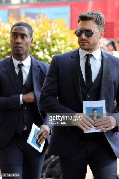 Simon Webb and Duncan James attending the funeral of Dale Winton at the Old Church No1 Marylebone road on May 22 2018 in London England