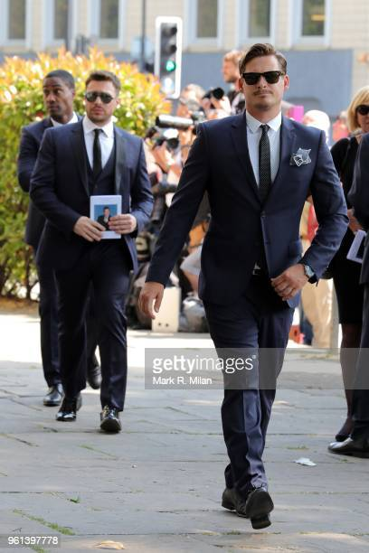 Simon Webb Duncan James and Lee Ryan attend the funeral service for Dale Winton at the Old Church No1 Marylebone road on May 22 2018 in London England