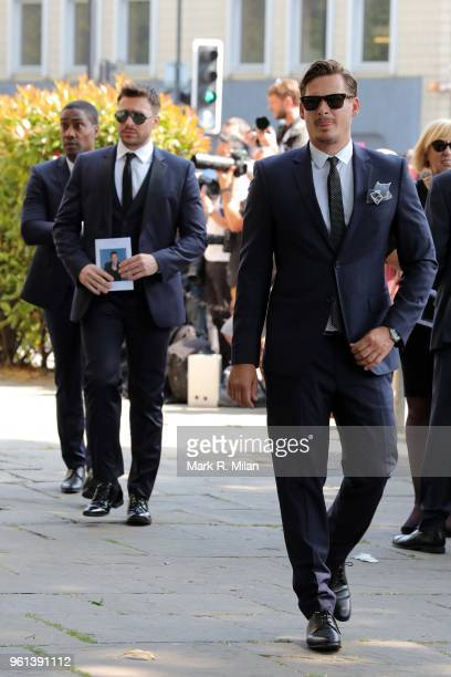 Simon Webb Duncan James and Lee Ryan attending the funeral of Dale Winton at the Old Church No1 Marylebone road on May 22 2018 in London England