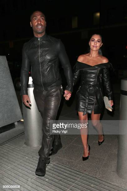 Simon Webbe and Ayshen Kemal seen attending OK Magazine's 25th anniversary party at The View from the Shard on March 21 2018 in London England