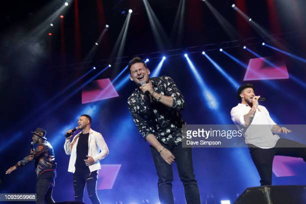 Simon Webbe Antony Costa Lee Ryan and Duncan James perform during So POP at Spark Arena on February 5 2019 in Auckland New Zealand
