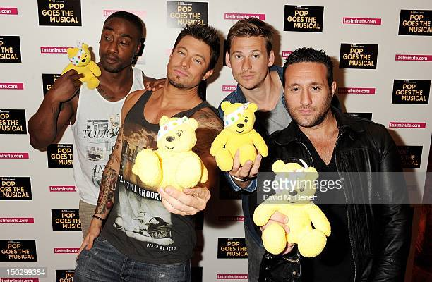 Simon Webbe Duncan James Lee Ryan and Antony Costa of Blue attend 'BBC Children in Need POP Goes The Musical' at the Prince Edward Theatre on August...
