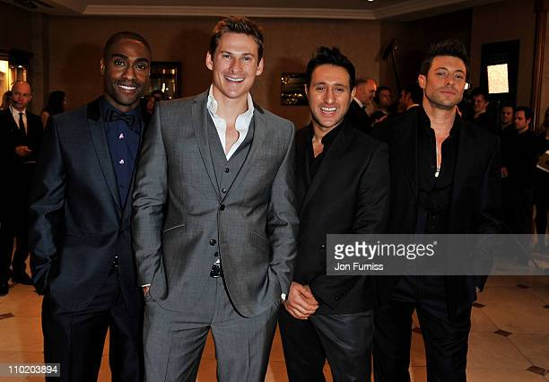 Simon Webbe Lee Ryan Antony Costa and Duncan James of Blue attend the GAME British Academy Video Games Awards in 2011 at London Hilton on March 16...