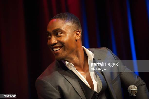 Simon Webbe of Blue engages in a questions and answers session with the British music press after the premiere of the music video for the single...