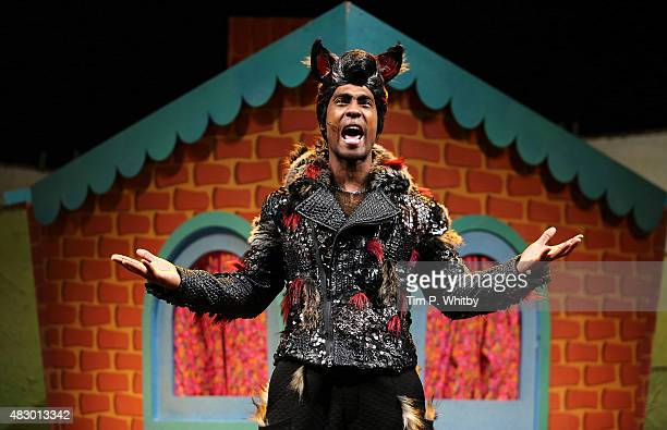 Simon Webbe performs on stage during a photocall for The Three Little Pigs at Palace Theatre on August 5 2015 in London England