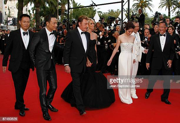 Simon Yam Anthony Wong Michele Ye Johnny Hallyday Laeticia Hallyday and Johnnie To attend the Vengeance Premiere at the Grand Theatre Lumiere during...
