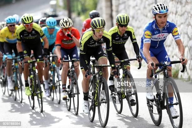 Simon Yates of Great Britain and MitcheltonScott / Julian Alaphilippe of France and QuickStep Floors / Dries Devenyns of Belgium and QuickStep Floors...