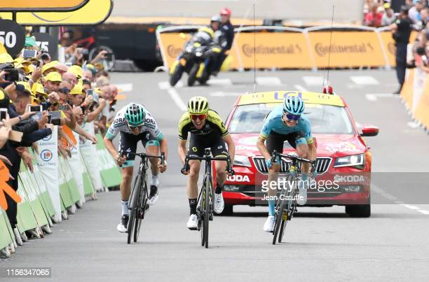 Simon Yates of Great Britain and Mitchelton-Scott wins in front of Peleo Bilbao Lopez De Armentia of Spain and Astana Pro Team and Gregor Muhlberger...