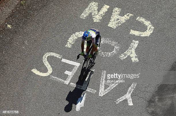 Simon Yates of Great Britain and Orica Greenedge during Stage Eighteen of the 2015 Tour de France a 1865km stage between Gap and SaintJeandeMaurienne...