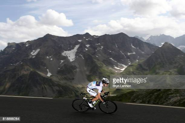 Simon Yates of Great Britain and Orica Scott descends the Col du Galibier on stage seventeen of the 2017 Tour de France a 183km road stage from La...