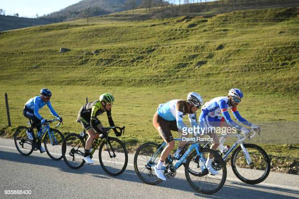 Simon Yates of Great Britain and Team Mitchelton-Scott / Mathias Frank of Switzerland and Team AG2R La Mondiale / Thibaut Pinot of France and Team...