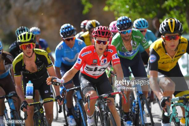 Simon Yates of Great Britain and Team MitcheltonScott / Michal Kwiatkowski of Poland and Team Sky Red Leader Jersey / Alejandro Valverde of Spain and...